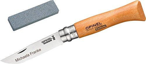 Opinel No.8 Carbon Set: Taschenmesser + Schleifstein, incl. Wunschgravur auf der Klinge in Geschenk-Schachtel