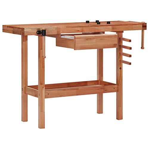 Tidyard Hobelbank Werkbank mit Schublade 2 Schraubstöcken 4 Stopper 4 Holznägel Holzwerkbank Hobeltisch Arbeitstisch Werktisch, Hartholz