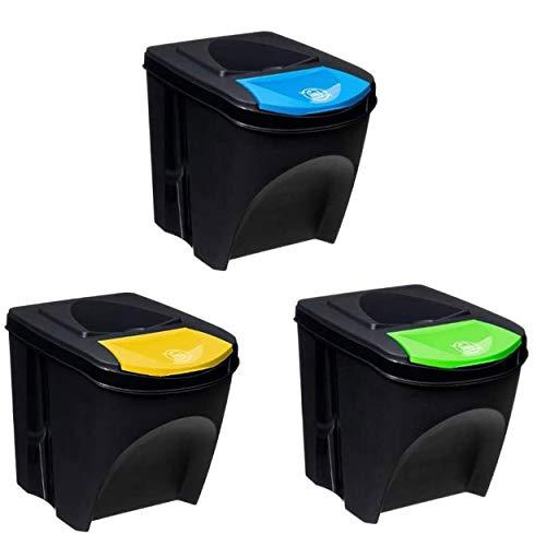 Hogar y Mas Papelera Reciclaje 3 Compartimentos Individuales, Cubo Basura 25L, Negro.