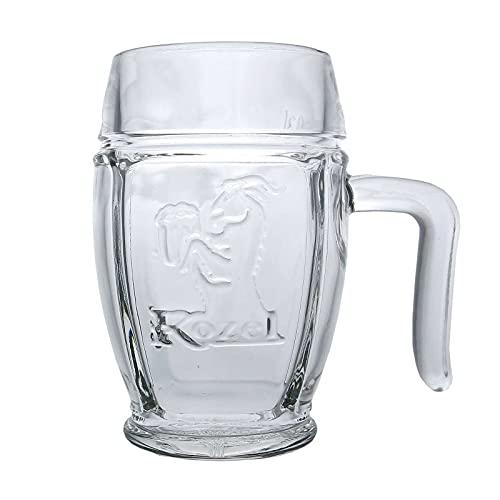 6 Stück Gehörntes Henkelglas Kozel 0,3 l Glas Bierglas Humpen Seidel Gläser Tschechien Krug
