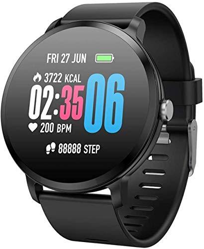 JSL Reloj inteligente con Bluetooth y monitor de ritmo cardíaco con pantalla táctil para reloj inteligente de color negro-negro