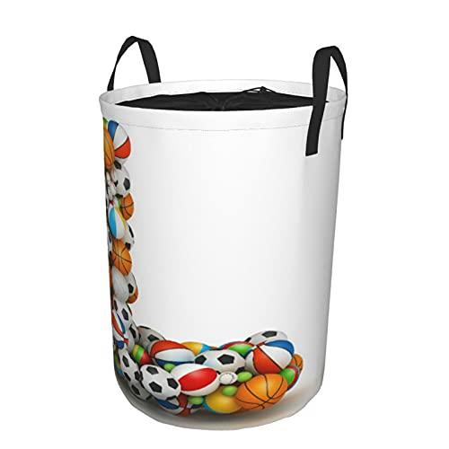Cesta de lavandería plegable grande,Letra L, Baloncesto Fútbol Voleibol Tenis,Cesto de almacenamiento de lavandería plegable redondo impermeable con cordón con asas,Bolsa de ropa sucia 16.5'x21.6'