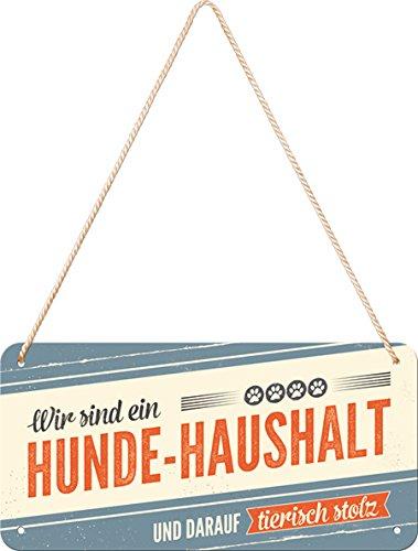 Nostalgic-Art 28017, PfotenSchild-Hunde-Haushalt, Hängeschild, Metall, Bunt, 10 x 20 x 0.1 cm