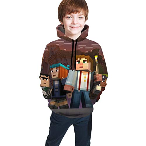 Minecraft Story Mode Teen Pullover Hoodie, Comfortable Youth Sweater Pullover,3D Print Unisex Sweatshirts with Pocket Black