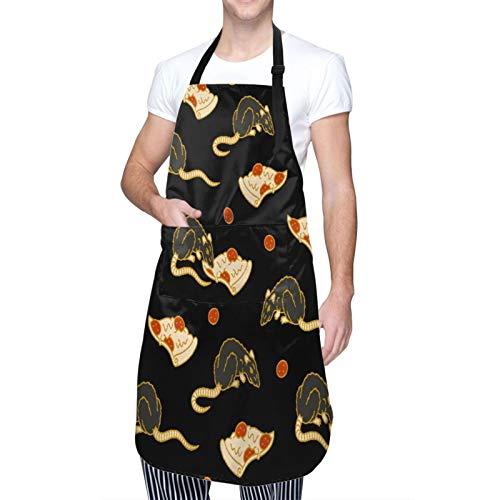 MAYBELOST Ajustable Colgante de Cuello Personalizado Delantal Impermeable,Rata de pizza,Babero de Cocina Vestido para Hombres Mujeres con 2 Bolsillos Centrales