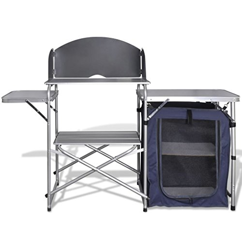Tidyard Camping-Kochstation aus Aluminium zusammenklappbar mit Windschutz