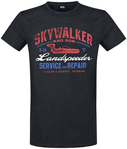 Star Wars Landspeeder Repair Hombre Camiseta Negro M, 100% algodón, Regular
