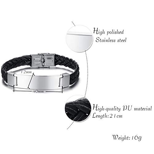 BLINGBRY 12mm Mens Armband Graveren RVS Identificatie Manchet Bangle Gevlochten Leer Casual Klassieke Mannelijke Sieraden
