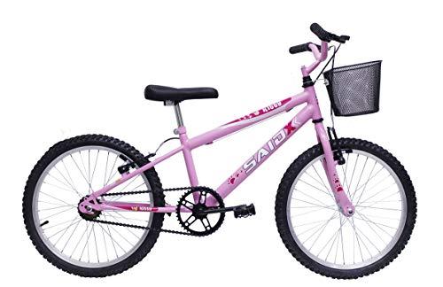 Bicicleta Aro 20 Infantil Feminina Com Cesta Saidx (Rosa)
