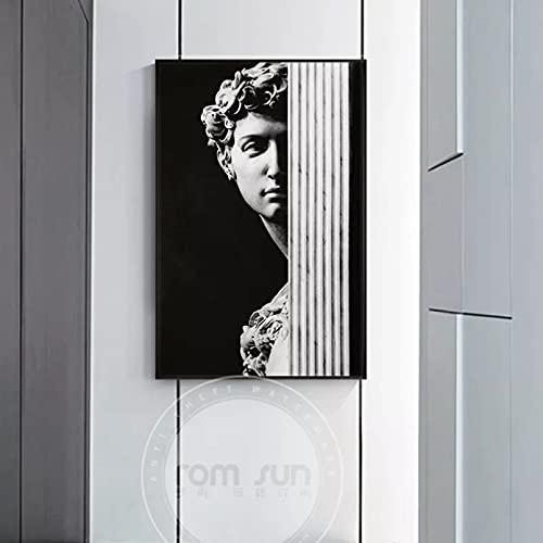 WenBo Pittura Decorativa Artistico Gesso Statua David Tela Pittura Astratta Poster Stampa per...