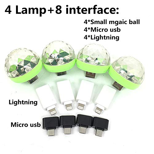 4piece/Box,Onejay,LED Small Magic Ball,Micro USB Mini RGB LED Bulb 4W Stage Light Sound Control Club Pub Disco Party Music Crystal, for Android or iPhone (4Lamp+8 Phone Interface)