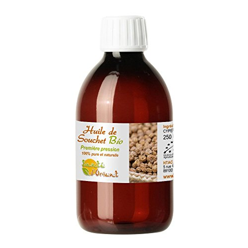 Huile de souchet bio 250 ml - ralenti efficacement et naturellement la pousse du poil et le rend plus fin