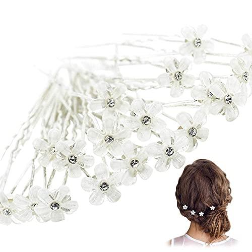 20 horquillas para el pelo con diseño de flores de cristal, tipo U, exquisitas pinzas para el pelo, para boda, compromiso, fiesta, novia, estilo de tocado