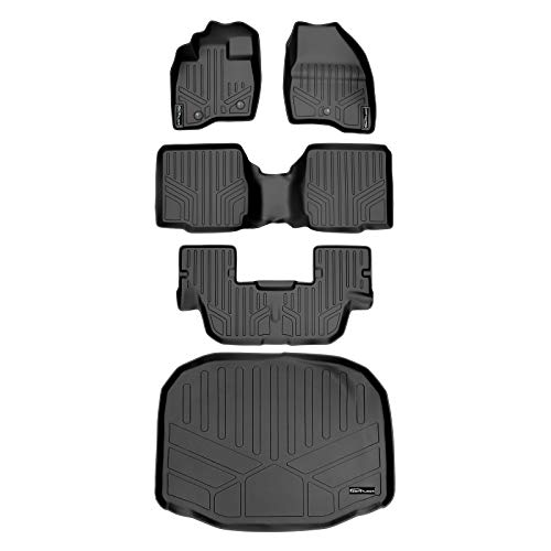 SMARTLINER Floor Mats 3 Rows and Cargo Liner Behind 3rd Row Set Black for...