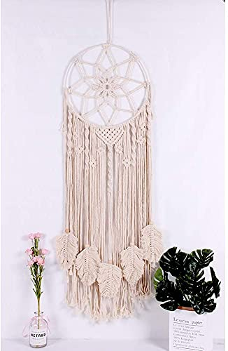 OurWarm Boho Dream Catche, Macrame Wall Hanging Large Boho Decor, Handwoven Dream Catcher with Canvas Bag for Kids Bedroom Decor, 36 x 13 Inc