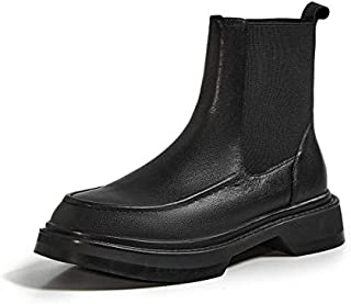 Ankle Boots - Krazing pot western boots genuine leather stretch patchwork round toe thick med heel slip on platform leisur...