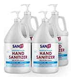 Sanit Moisturizing Hand Sanitizer Gel 70% Alcohol - Kills 99.99% Germs, Advanced Formula with Vitamin E and Aloe Vera - Soothing Gel, Fresh Scent, Made in USA - 1 Gallon with Pump, 4 Pack