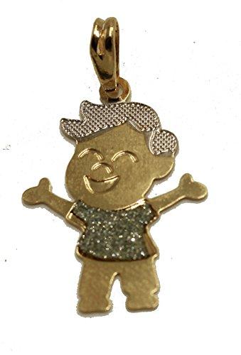 Diamantados de la Floride Pendentif Garçon Plaqué or 18K Pendentif avec chaîne de 50,8cm–Garçon Charm pendentif Or trois Tons