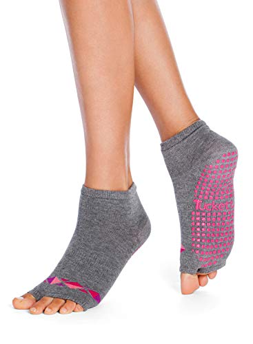 Tucketts Womens Yoga Toe Socks, Toeless Non Slip Skid Grippy - Anklet Style (Grau)