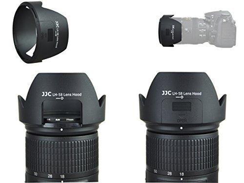 Speciale zonneklep met raamuitsnijding LH-58 voor Nikon AF-S DX NIKKOR 18-300mm f/3.5-5.6G ED VR, incl. Cap met interne greep