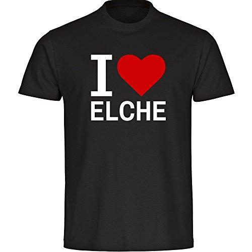 T-Shirt cuello redondo camiseta de manga corta para hombre Elche I Love Classic colour negro talla S hasta 5XL