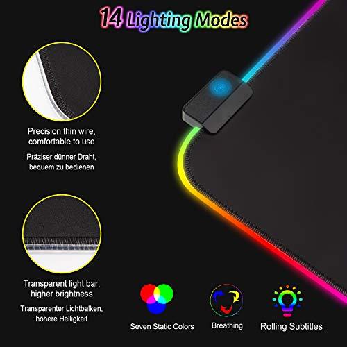 Gaming Mousepad RGB Mauspad 800x300 XXL Gaming Mauspad groß mit 14 Beleuchtungs Modi Wasserdicht Anti Rutsch für Computer PC Professionelle Gamer