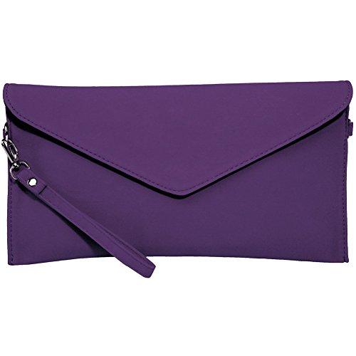 Kormei, borsa donna in pelle di camoscio, busta, pochette, borsetta da festa, Viola (Violett), Small