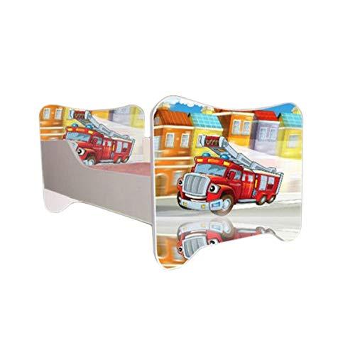 Jugendmöbel24.de Autobett Feuerwehr inkl. Rollrost und Matratze 70 * 140 Rot Weiß SOS Truck Kinderbett Kinderzimmer Rennbett Bett Einzelbett Spielbett
