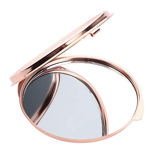 HomeDecTime Miroir de Maquillage, Miroir Grossissant Rond pour Sac à Main - Rose d'or 6 x 6 cm