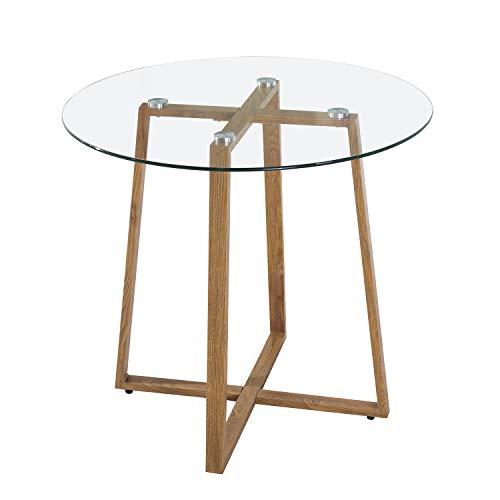 EGGREE Mesa de Cristal Redonda Mesa de Comedor Nordica Moderna, Patas de Metal Acabado de Roble, 80 x 75 cm