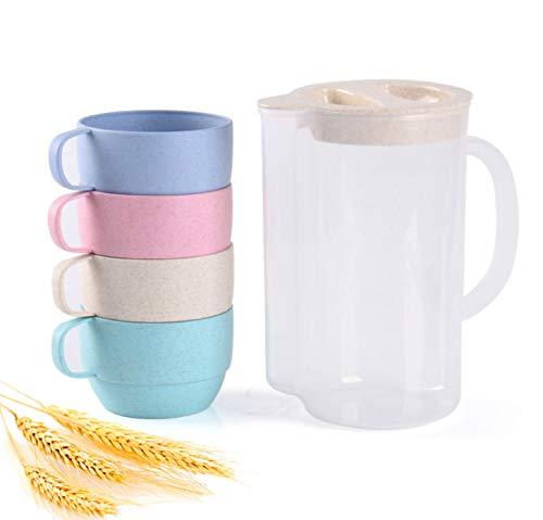 Wheat Straw Fiber Unbreakable Tableware Kettle Cups Set, Unbreakable Pitchers with Cup for Kids Children Adult, Lightweight Water Jug Set of 5, Dishwasher Coffee Mug for Tea, Milks,Juice,Breakfast
