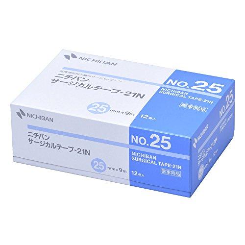 ニチバン 不織布サージカルテープ-21N 25mm幅 9m巻き 12巻入り
