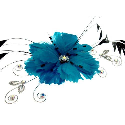 Acosta - grandes de color azul de la pluma y flor de cristal AB - broche/accesorio del pelo/Velo