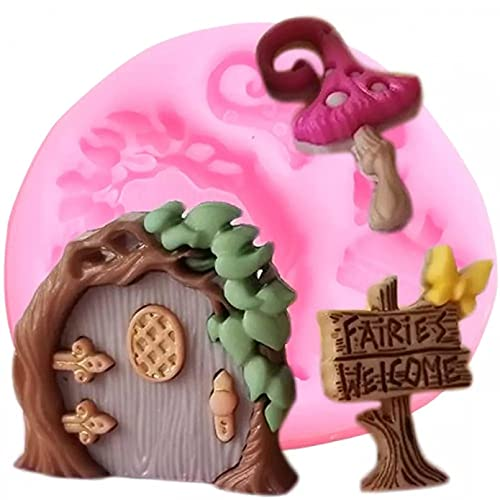 LIANGFF Fairy Garden Silicone Molds Door Cupcake Topper Fondant Mold DIY Birthday Cake Decorating Tools Chocolate Candy Clay Mould