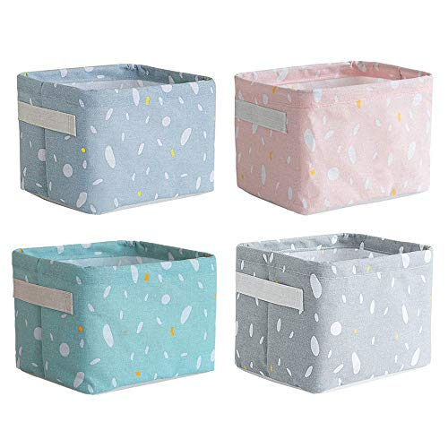 Gobesty Cestas de almacenamiento pequeñas, 4 paquetes de contenedores de almacenamiento cuadrados mini plegables con asa Contenedores de almacenamiento de tela de algodón y lino natural Cestas