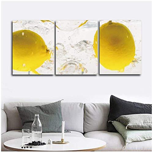 BICHENGGONGFBH Essen Obst Küche Korridor Gang Leinwand Malerei Wandbild für Wohnzimmer Schlafzimmer Dekoration Wandkunst 3 Stück 30 x 40 cm (11,8