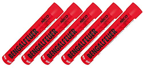 5 Stück Bengalfeuer rot blinkend Strobeeffekt Nico Feuerwerk Bengalos