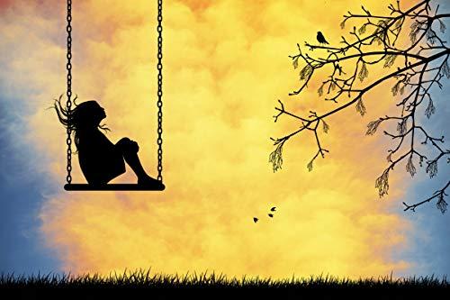 1000 stukjes puzzel Zonsondergang, meisje zittend op een schommel, kinderen educatief spel speelgoed 75x50cm