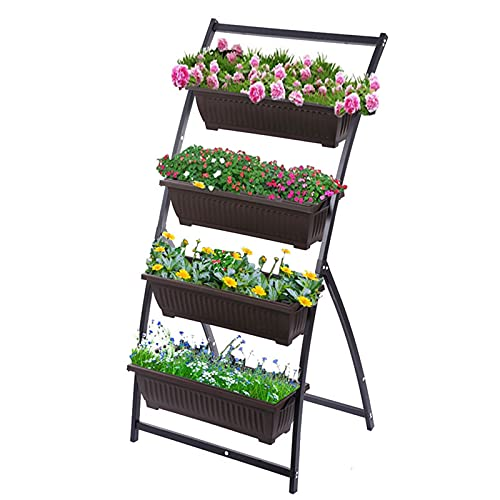 Qks Floor Standing Flower Stand Vertical Garden Freestanding Elevated Planter with 5 Container Boxes Apply to Home Outdoor Flower Shop Terrace Garden