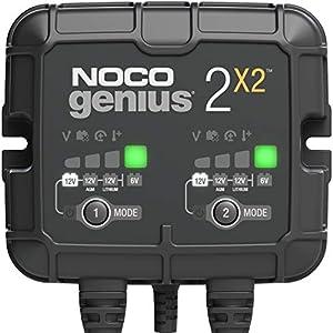 NOCO GENIUS2X2, Inteligente automático de 4A y 2 (2A por Banco), Cargador 6V y 12V, mantenedor desulfatador de batería…