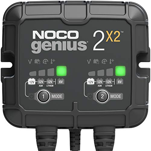 NOCO GENIUS2X2, 2-Bank, 4-Amp (2-Amp Per Bank) Fully-Automatic Smart Charger, 6V And 12V Battery Charger, Battery Maintainer, Trickle Charger, And Battery Desulfator with Temperature Compensation