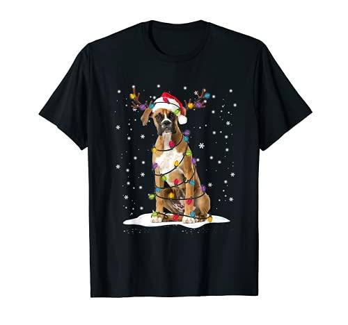 Boxer - Pijama de árbol de Navidad para amantes de perros, regalo de Navidad Camiseta