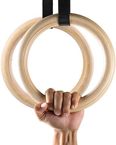 Ducomi - Anillas de gimnasia de madera con correas ajustables – Entrenamiento para gimnasio, casa, crossfit, atletismo y fitness – Carga máxima 365 kg – potenciación muscular, pull up y tracciones