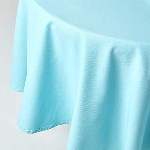 HOMESCAPES Nappe de Table Ronde, Linge de Table en Coton uni Bleu - 178 cm