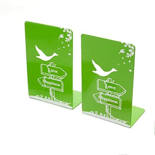 Reggilibri Metallo Bookends Libro Desktop Basamento di Libro Porta Libro casa Cartoleria Biblioteca Ufficio Scolastico cancelleria Alimentazione 1 Coppia Creativo fermalibri (Color : Green)