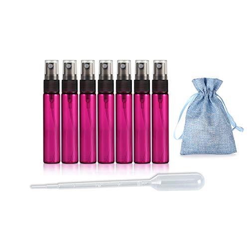 JJKMALL- 10 Botellas de Perfume de Viaje Recargables y Recargables (10 ml), Botella vacía hidratante + 1 Bolsa de Almacenamiento de Regalo + 1 cuentagotas de 3 ml