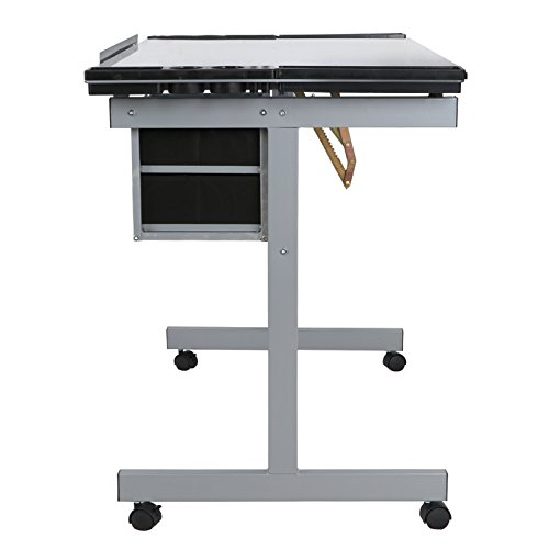 ZENY Glass Top Adjustable Drawing Desk Craft Station Drafting Table Tempered Glass Top Art Craft Desk w/2 Slide Drawers and Wheels