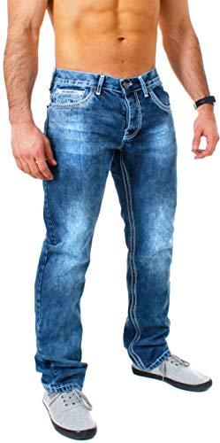 Amica Herren Denim Jeans Hose Straight Leg gerade Passform Vintage Look mit Kontrastnähte, Grösse:W38, Farbe:Blau/Weiß
