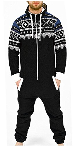Juicy Trendz® Herren Onesie Overall Trainingsanzug Jogginganzug Einteiler Muster Jumpsuit, Black-aztec, XL