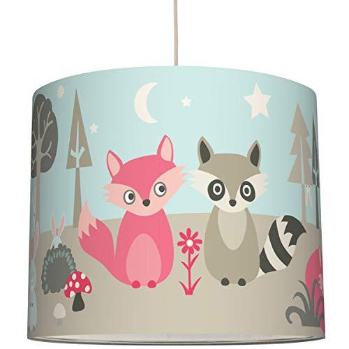 Anna Wand Hängelampe Little Wood – Lampenschirm für Kinder/Baby Lampe mit Waldtieren – Sanftes Kinderzimmer Licht Mädchen & Junge – ø 40 x 34 cm